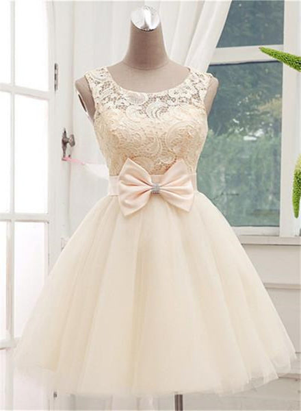 Adorable Lace Champagne Ball Gown Sleeveless Homecoming Dresses, Cute Tulle Party Dresses