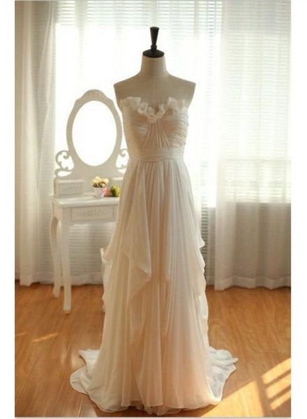 Beautiful Ivory Chiffon Simple Wedding Dress, Long Floor Length Beach Wedding Gowns
