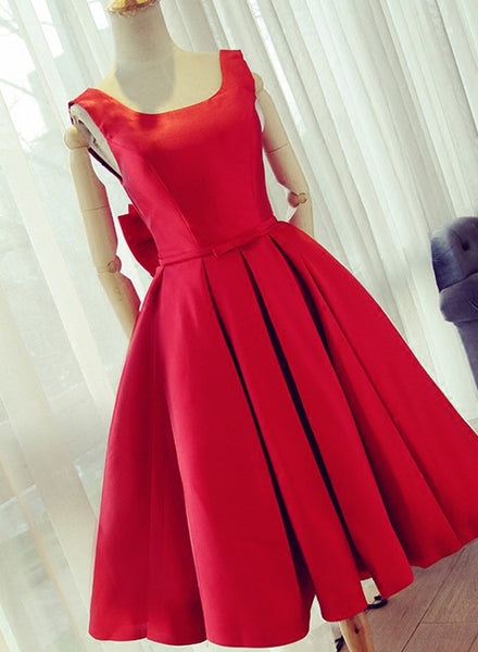 Red Satin Cute Party Dress with Bow, Satin Homecoming Dresses, Backless Formal Dresses