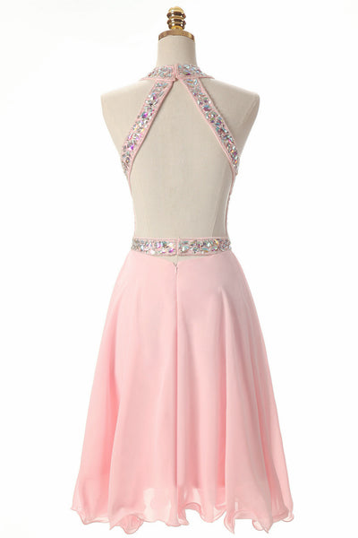Pink Beaded Short Chiffon New Style Formal Dress 2018, Pink Homecoming Dresses, Short Party Dresses