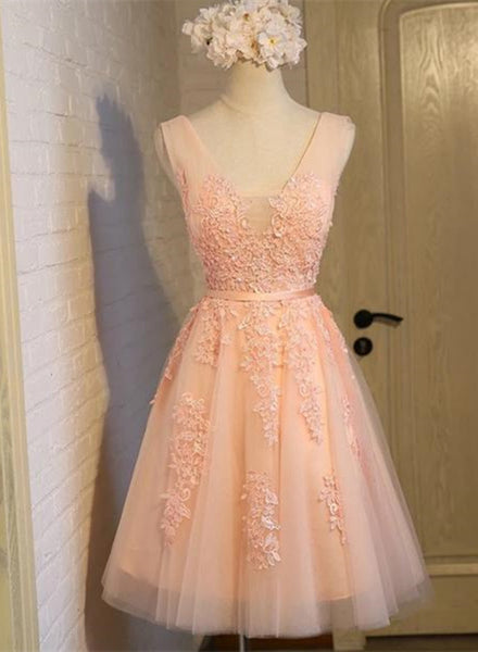 Adorable Pearl Pink Short Homecoming Dresses, Lovely Handmade Formal Dress, Prom Dress 2018