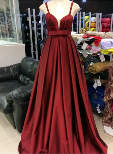 Burgundy Plunging Neckline Satin Prom Gowns, Floor Length Evening Party Dresses 2018