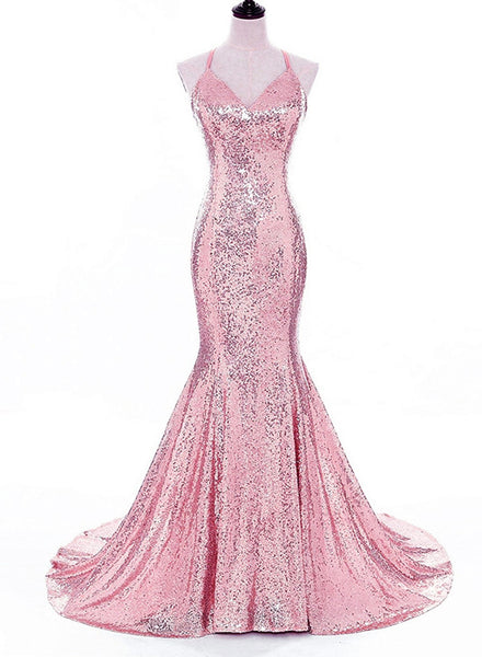 Pink Sequins Party Gowns, V-neckline Mermaid Cross Back Prom Dresses, Evening Gowns