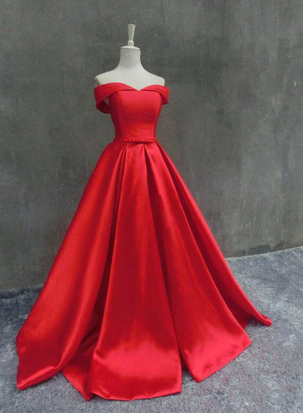 Red Satin Junior Prom Dresses, Off Shoulder Sweetheart Pretty Formal Dress, Prom Gown