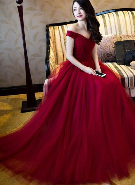 Elegant Tulle Off-The-Shoulder Burgundy Tulle Prom/Evening Dress, Lace-Up Party Dresses, Sweetheart Formal Dresses