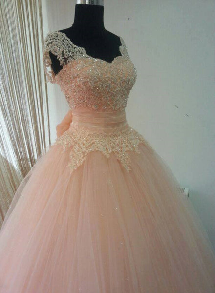 Pink Gorgeous Formal Gown, Floor Length Party Dresses, Lace Applique Prom Dresses