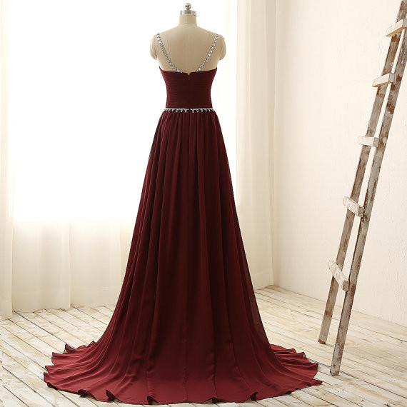 Maroon Long Beaded Party Dresses, Handmade Prom Dress 2019