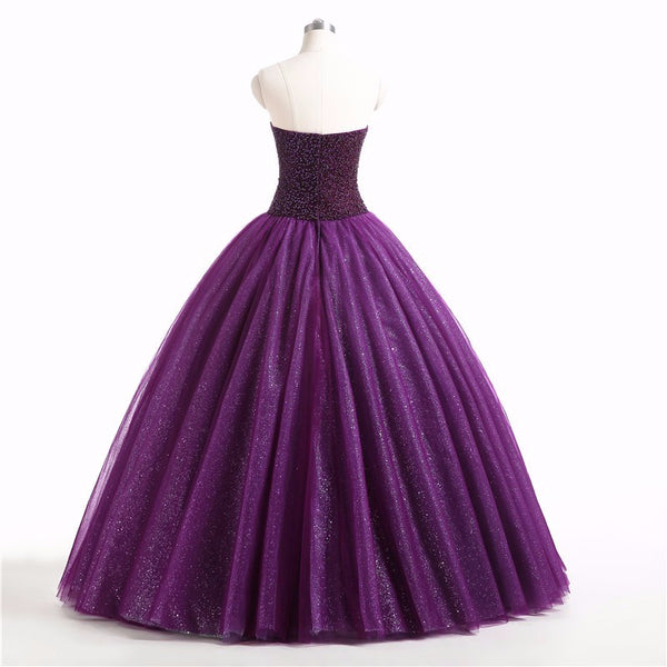 Gorgeous Purple Beaded Tulle Ball Gown Sweet 16 Dress, Purple Quinceanera Dress