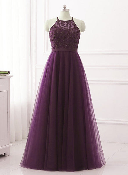 Purple Halter Tulle with Lace Applique Long Prom Dress, A-line Floor Length Party Dress