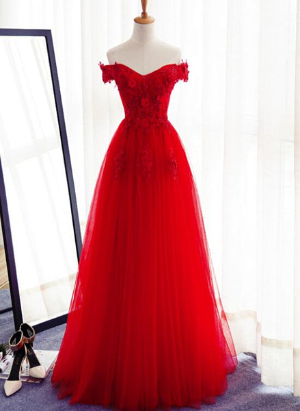 Red Tulle Floor Length Floral Prom Gowns, Red Prom Dress 2018, Off Shoulder Party Dress 2018