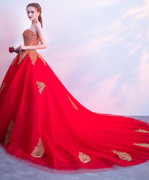 Red Sweetheart Tulle with Gold Lace Applique Prom Gowns, Party Dresses 2018, Formal Gowns