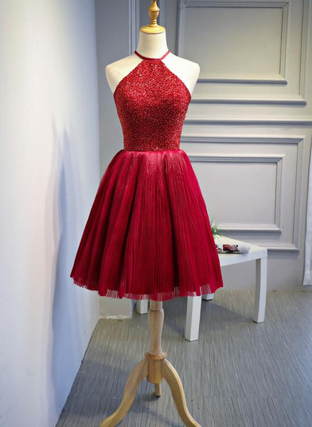 Red Halter Beaded Short Party Dress, Beaded and Sequined Party Dress, Homecoming Dresses