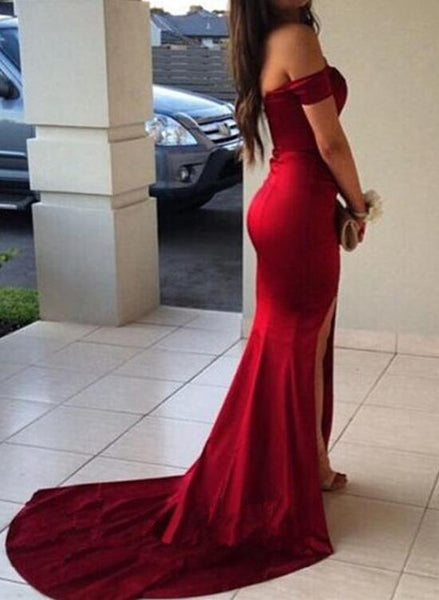 Dark Red Satin Mermaid Gown with Slit, Sweetheart Party Dresses, Formal Gowns 2018