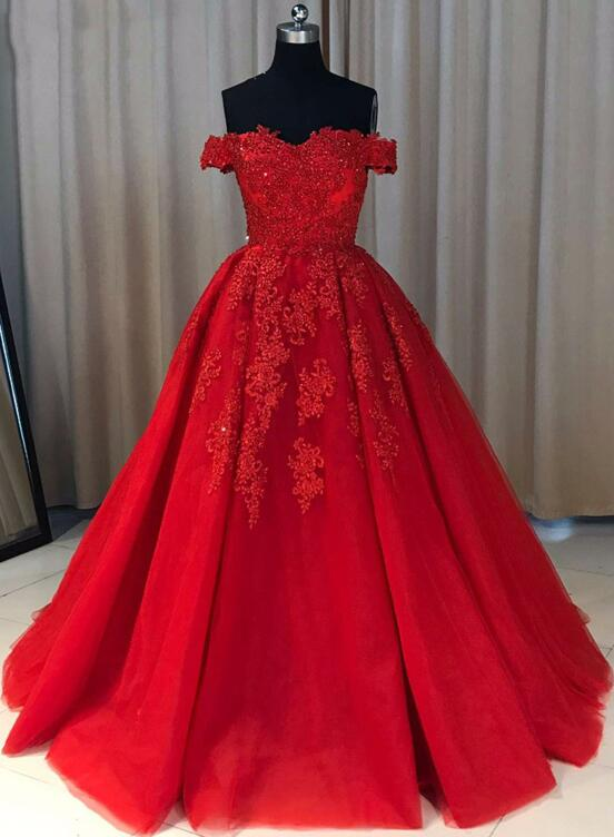 Gorgeous Red Tulle and Applique Off Shoulder Prom Dresses 2018, Red ...