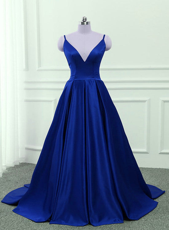 Royal Blue V-neckline Satin Prom Gowns, Blue Prom Dress 2019, Cross ...