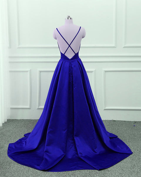 Royal Blue V-neckline Satin Prom Gowns, Blue Prom Dress 2019, Cross Back Dresses