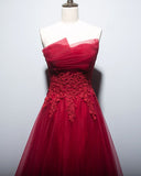 Beautiful Red Tulle Long Prom Dress, Charming A-line Tulle Formal Dress