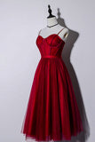 Beautiful Dark Red Tea Length Straps Wedding Party Dress, Homecoming Dress