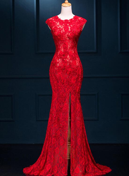 Beautiful Red Lace Mermaid Slit Evening Gowns, Red Formal Gowns, Red ...