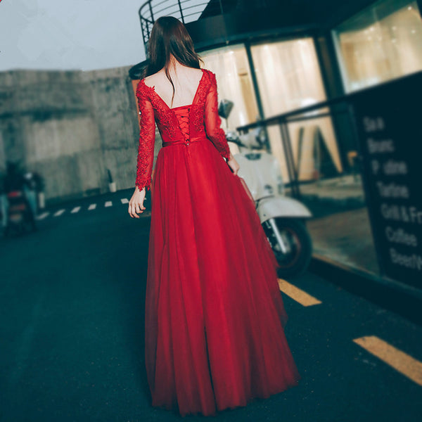 Beautiful Wine Red Long Sleeves Tulle Party Dress, Red Long Formal Gown