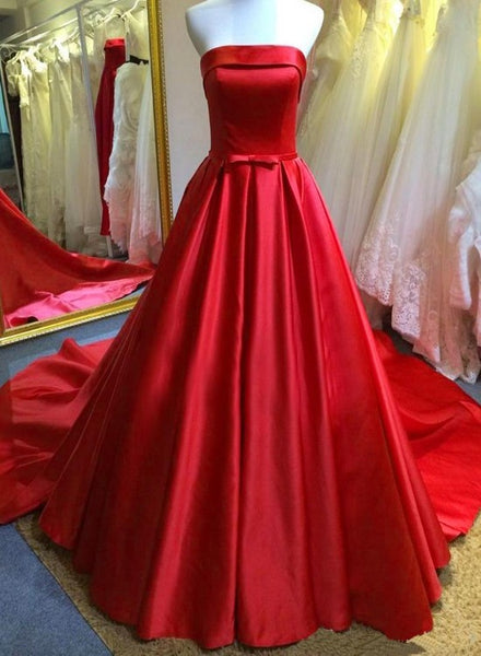 Red Satin Scoop Long Simple Wedding Party Dress, Red Satin Formal Gown
