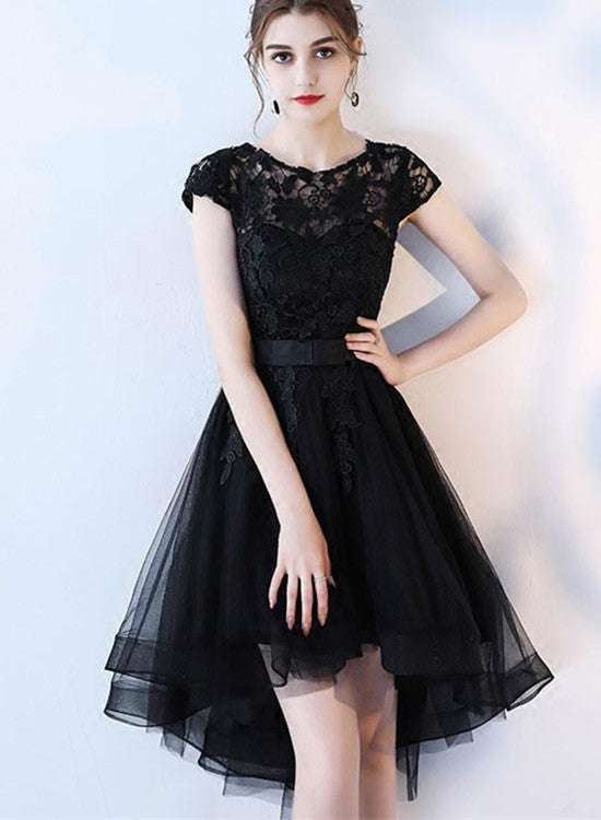 Black Homecoming Dress 2018 High Low Tulle And Lace Formal Dress