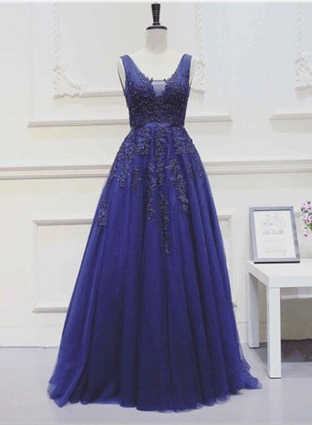 Royal Blue Beautiful Tulle V-neckline Party Dress, Blue Party Gowns, Blue Prom Dress 2018