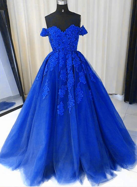 Royal Blue Tulle Gown, Lace Applique Off Shoulder Party Dress, Prom Dress 2018