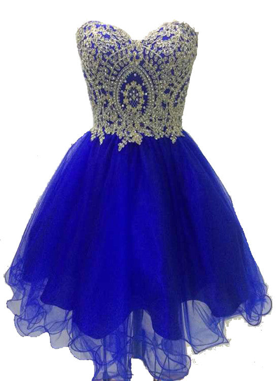 Royal Blue Tulle with Gold Applique, Short Prom Dress, Blue ...