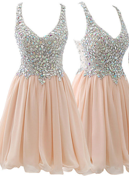 Chiffon Short Blush Beaded Formal Prom Dress, Cocktail Dress, Homecoming Dress 2018