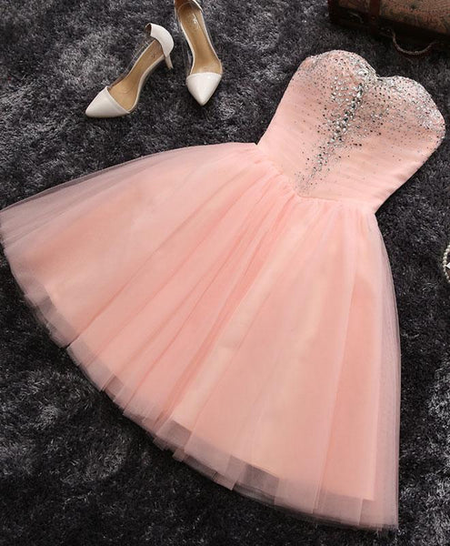 Pink Sweetheart Beaded Tulle Short Party Dress, Cute Formal Dresses 2018, Woman Formal Dresses
