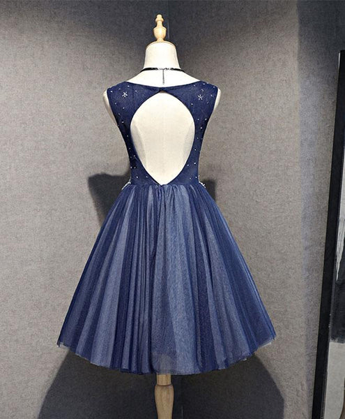 Charming Knee Length Bridesmaid Dress, Navy Blue Homecoming Dress