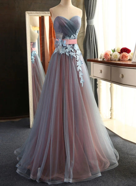 Gorgeous Tulle and Pink Floor Length Party Dress, Junior Prom Dress
