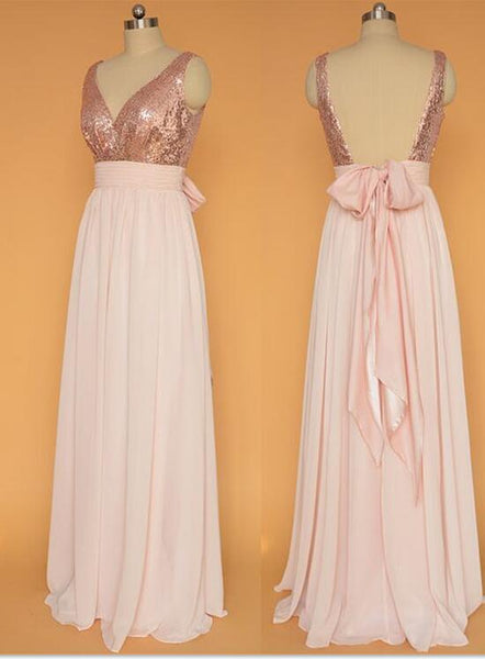 Sequins Backless Chiffon Skirt Long Bridesmaid Dresses, Bridesmaid Dress with Bow, Lovely Party Dresses