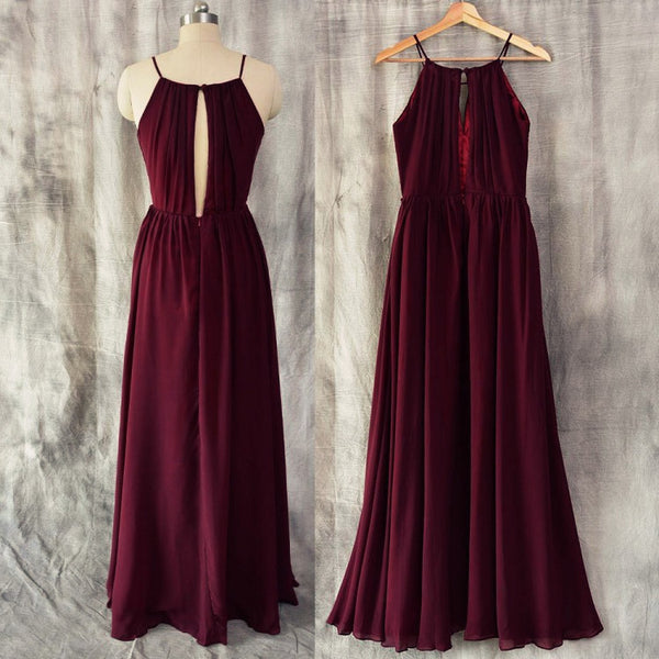 Charming Chiffon Round Simple Floor Length Bridesmaid Dress, Beautiful Party Dress