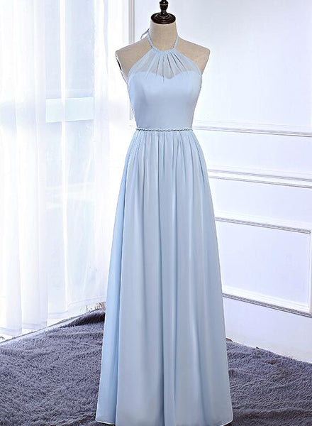 Beautiful Light Blue Simple Halter Chiffon Bridesmaid Dress, Bridesmaid Dress 2018