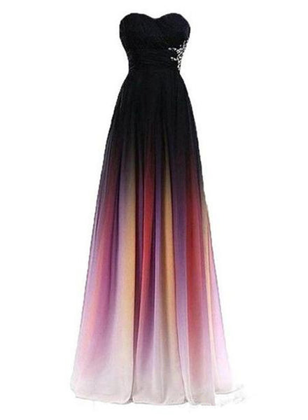 Charming Gradient Sweetheart Chiffon Long Prom Dresses 2019, Formal Gowns