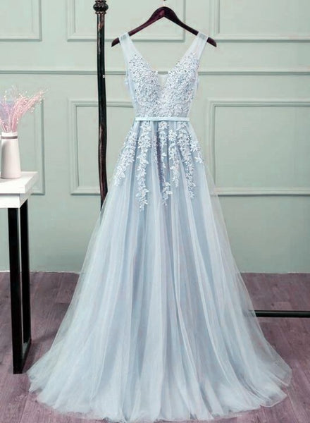 Pretty Tulle V-neckline Lace Applique Prom Dress, Long Bridesmaid Dress Formal Dress
