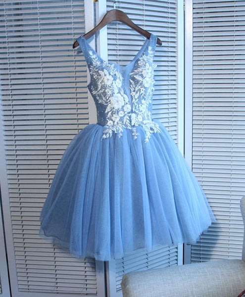 Blue Tulle Lace Applique with Beadings Homecoming Dresses, Blue Party Dresses 2019