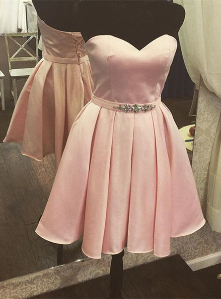 Pink Party Dresses Short with Beadings, Lovely Homecoming Dresses, Short Prom Dresses