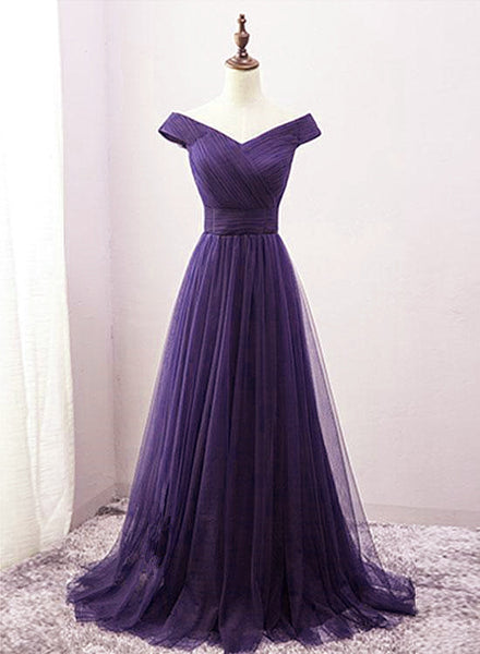 Beautiful Off the Shoulder Long Purple Bridesmaid Dress, A-line Evening Gowns