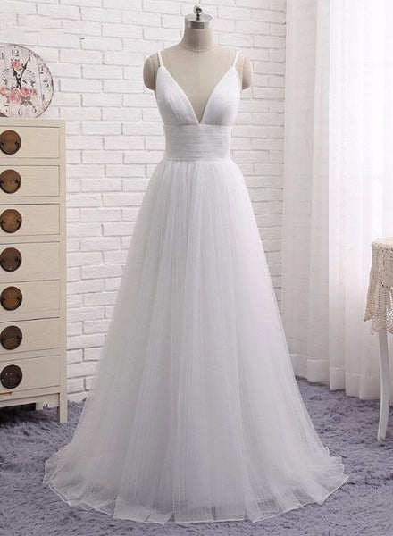 Charming White Tulle V-neckline Straps Party Dress, Simple Beach Wedding Dress