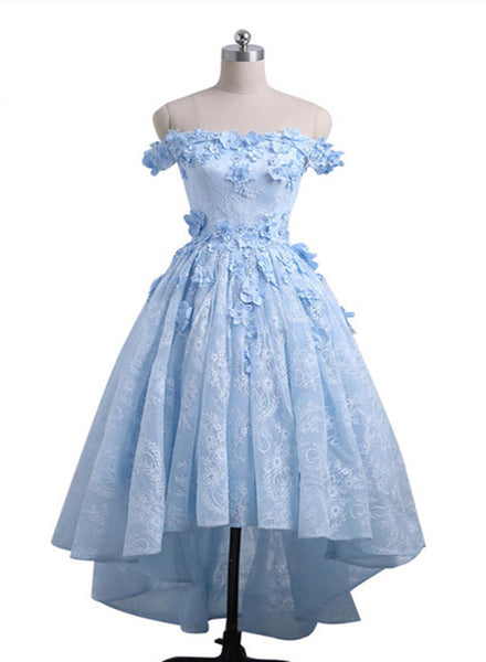 Ice Blue Off Shoulder High Low Party Dresses, Handmade Formal Gowns, Prom Dress 2018