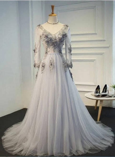 Beautiful Light Grey Tulle V-neckline Long Prom Dress, Floral Grey Evening Gown