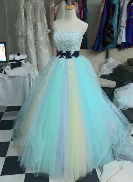 Tulle Colorful Long Formal Gowns, Cute Party Gowns, Handmade Tulle ...