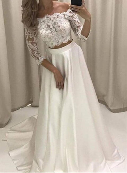 White Satin and Applique Two Piece Prom Dress, Short Sleeves Party Dress, Junior Prom Dress