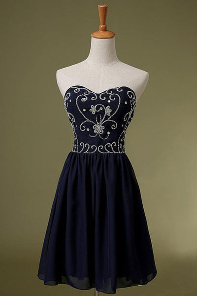 Navy Blue Chiffon Beaded Homecoming Dress, Sweetheart Pretty Party Dress, Formal Dress for Prom