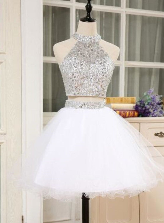 White Two Piece Homecoming Dress, Cute White Party Dress, Short Teen Formal  Dress ...