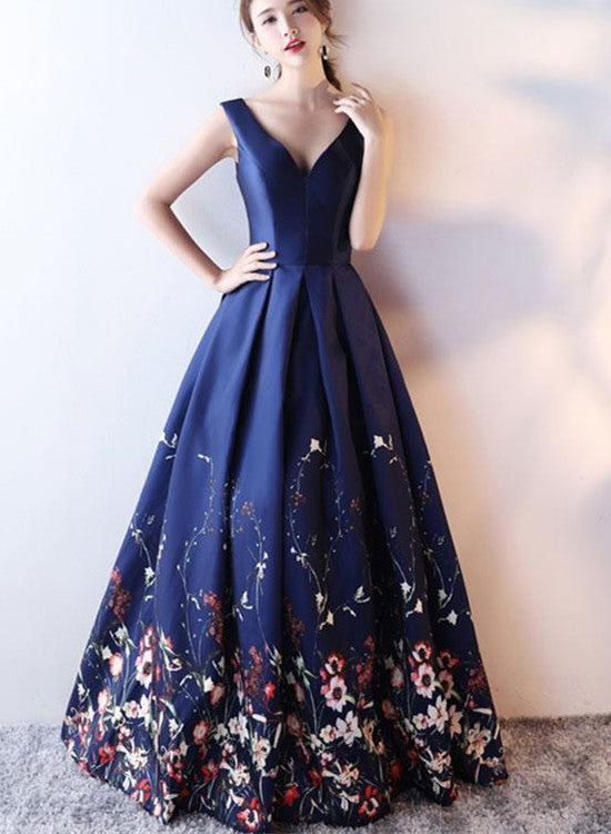 Navy Blue Satin and Floral Floor Length Party Gowns, Prom Dresses ...