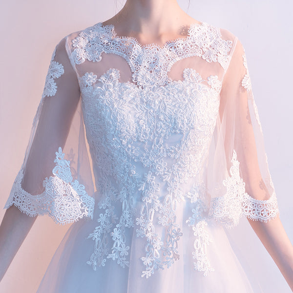 White Tulle with Lace Short Sleeves Layers Tulle Prom Dress, White Simple Wedding Party Dress